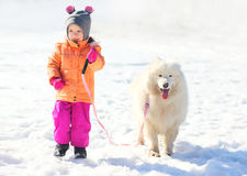 Happy child and white Samoyed dog walking together in winter Royalty Free Stock Photos