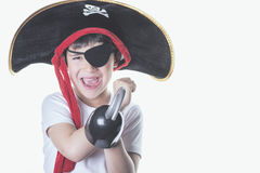 Happy child who disguises. Smiling boy dressed as pirate Stock Photo
