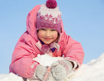 Happy child in winter park Royalty Free Stock Images