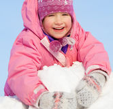 Happy child in winter park Stock Photography