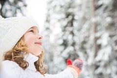 Happy child in winter park Stock Photos