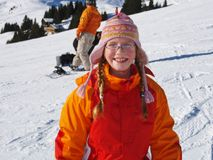 Happy child and winter sport royalty free stock photography