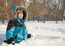 Happy child in winterwear Royalty Free Stock Photos