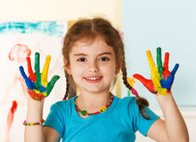 Free Happy Child With Painted Hands Royalty Free Stock Photos - 36214168