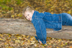 Happy child in the woods. stock image