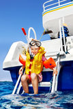 Happy child on yacht. Stock Photography