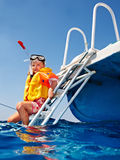 Happy child on yacht. royalty free stock photos