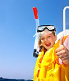 Happy child on yacht. Royalty Free Stock Photography