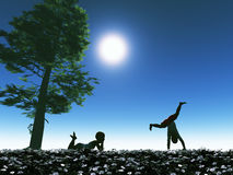 Happy childhood. Two playing kids as symbol for happy and carefree childhood full of mysteries Royalty Free Stock Image