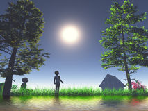 Happy childhood. Two playing kids as symbol for happy and carefree childhood full of mysteries Stock Photography