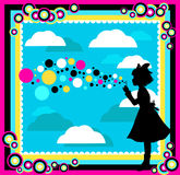 Happy childhood. Silhouette of a girl playing with soap bubbles in a colorful abstract surrounding Royalty Free Stock Photo
