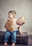 Happy childhood. Of two brothers Royalty Free Stock Photography