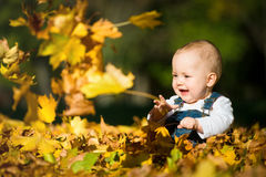 Happy childhood - autumn sunny day Stock Photo