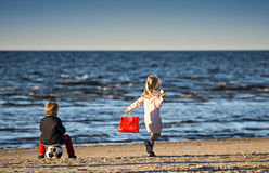 Happy childhood,Baltic sea, Latvia Royalty Free Stock Image
