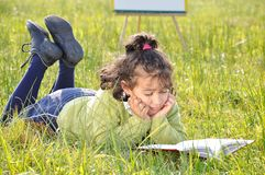 Happy childhood on beautiful meadow Stock Image