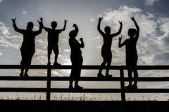 Happy childhood. Happy Children in the Garden, silhouettes Stock Image