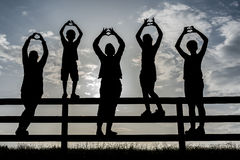 Happy childhood. Happy Children in the Garden, silhouettes Stock Photography