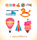 Happy childhood collection. Set with toys. Ball, a Royalty Free Stock Image