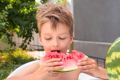 Happy childhood concept. Summer holidays background. School holidays concept. Boy eating watermelon outside in the royalty free stock photos