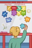Happy Childhood concept with young boy placing colorful puzzle pieces stock illustration