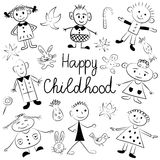 Happy Childhood. Cute Kids with Toys, Stars and Candies. Funny Children Drawings. Sketch Style. vector illustration