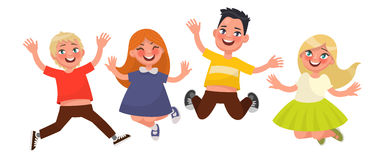 Happy childhood. Funny kids are jumping on a white background. V Stock Photo