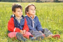 Happy childhood on green Stock Photo