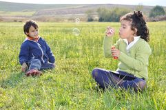 Happy childhood on green Stock Photography