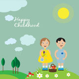 Happy childhood. Happy boy and girl on the meadow. EPS 10 Stock Images