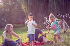 Happy Childhood-Happy family with children blow soap bubbles in park stock photography