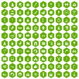 100 happy childhood icons hexagon green. 100 happy childhood icons set in green hexagon isolated vector illustration Royalty Free Stock Photo