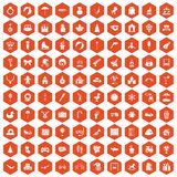 100 happy childhood icons hexagon orange. 100 happy childhood icons set in orange hexagon isolated vector illustration Royalty Free Stock Photography