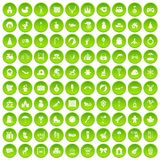 100 happy childhood icons set green circle. Isolated on white background vector illustration Royalty Free Stock Images