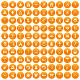 100 happy childhood icons set orange. 100 happy childhood icons set in orange circle isolated on white vector illustration royalty free illustration