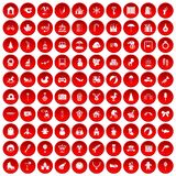 100 happy childhood icons set red. 100 happy childhood icons set in red circle isolated on white vector illustration Stock Photo