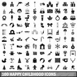 100 happy childhood icons set, simple style Royalty Free Stock Photo