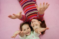 Happy childhood - larking girls Royalty Free Stock Images
