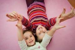 Happy childhood - larking girls Stock Image