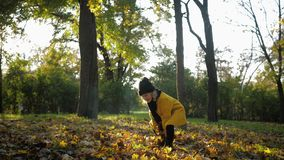 Happy childhood, little beautiful girl throws up yellow leaves in autumn park in fresh air, healthy lifestyle