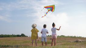 Happy childhood, little kids rejoice with kite having wonderful time in forest on family weekend during summer holiday stock footage