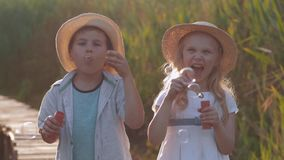Happy childhood, merry cute little girl with friend boy in straw hats blow bubbles and laugh in nature stock footage