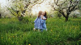 Happy childhood: mother and daughter hugging and laughing. On the nature in an apple-blooming garden stock video