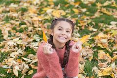 Happy childhood. School time. Happy little girl in autumn forest. Autumn leaves and nature. Small child with autumn. Leaves. I would stay here forever. No rush stock photography