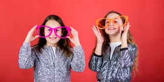 Happy childhood. Sincere cheerful kids share happiness and love. Joyful and cheerful. Sisterhood concept. Friendly. Relations siblings. Girls funny big royalty free stock photos