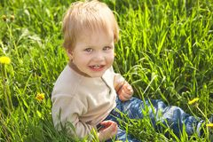 Happy childhood outdoor, little blond boy in green grass royalty free stock images