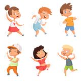 Happy childhood. Various funny dancing kids stock illustration