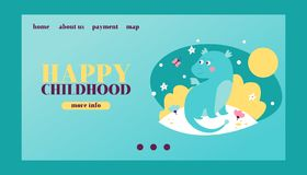Happy childhood vector template with baby dragon. Cartoon funny dinosaur. Fairy dinosaurs on blue background. Webpage vector illustration