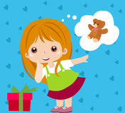 Happy CHildren. Cute girl and box- Art Vector Illustration Royalty Free Stock Images