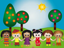 Happy children. Illustration of happy children of different nationalities in the garden royalty free illustration