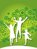 Happy Children. An illustration with silhouetted happy children jumping around on a green background with abstract design Stock Photography